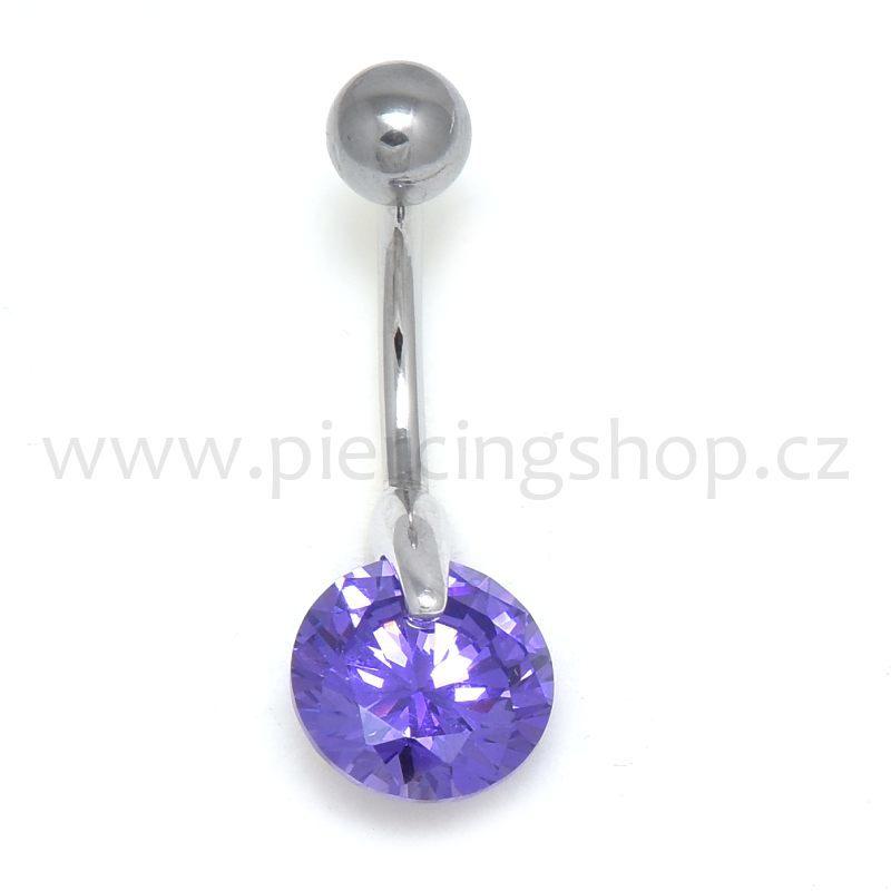 Krásný piercing do pupíku ocelový s kulatým zirconem