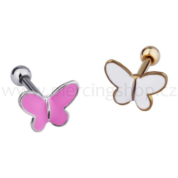 Helix piercing tyčka s ozdobou motýlka