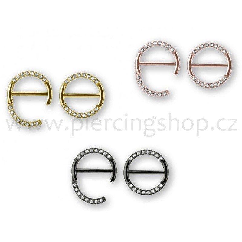 Piercing do bradavky O kroužek rozevírací s kamínky