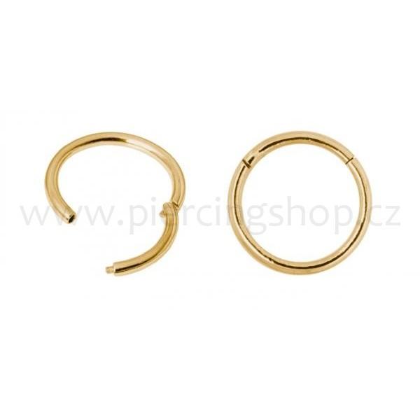 SEGMENT rozevírací piercing do nosu Gold PVD