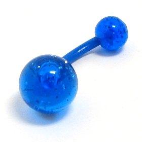 Piercing do pupíku Modrý se třpytkami