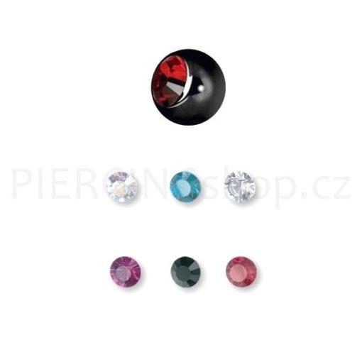 Piercing náhradní kulička Black 3.5 mm s kamínkem