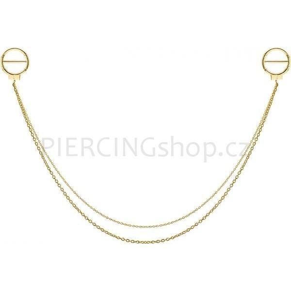 Piercing mezi bradavky s řetízkem 2x O kroužek rozevírací se zámečkem